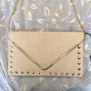 MODA LUXE GOLD DIAMOND CLUTCH WITH SHOULDER STRAP